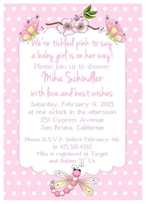 "Printed Butterfly Baby Shower Girl Invitation - Size A7 (5""x7"") with Envelopes. $16.50 for 10. via Etsy."