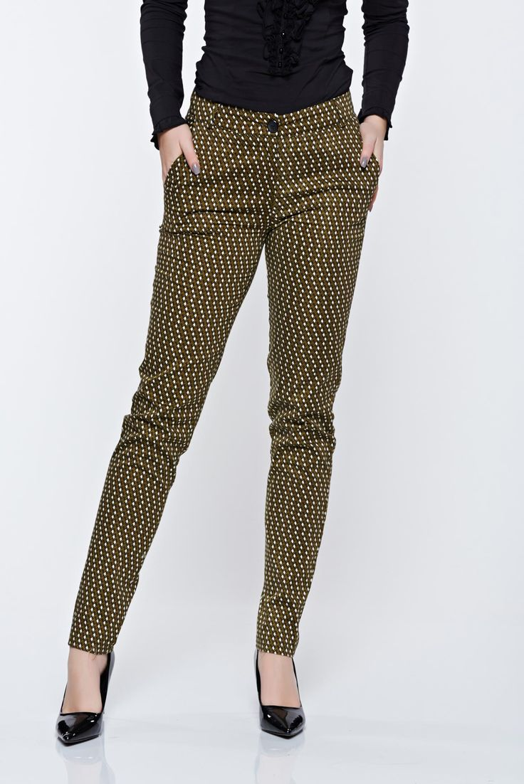 PrettyGirl green casual conical trousers with geometrical print, women`s trousers, nonelastic cotton, button and zipper fastening, back pockets, front pockets, print details