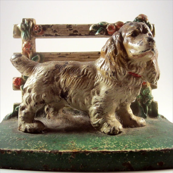 Antique Hubley Brown And White Cocker Spaniel At Fence Doorstop