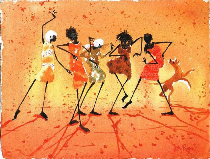 Figurative Australian Painting - Judy Prosser - Tribal Dance 1