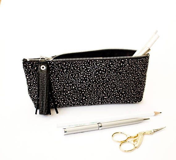 Black Pencil Case Minimalist Pen Pouch Metallic Cosmetic