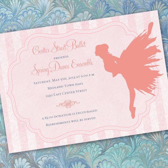 ballet recital invitation, ballet birthday invitation, pink ballerina invitation, IN237 on Etsy, $20.00