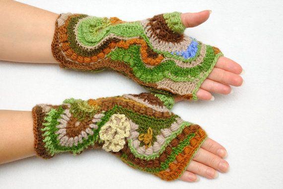Unuque Freeform Crochet Fingerless Gloves от PrettyCrochetForYou