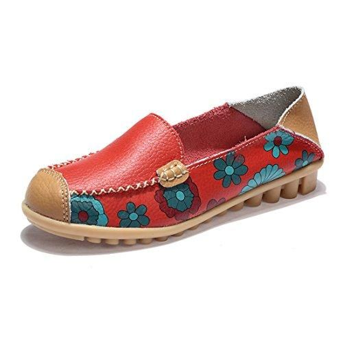 Oferta: 20.99€. Comprar Ofertas de Z.SUO Mujer Mocasines de cuero Moda Loafers Casual Zapatos de conducción Zapatillas(41 EU,Rojo) barato. ¡Mira las ofertas!