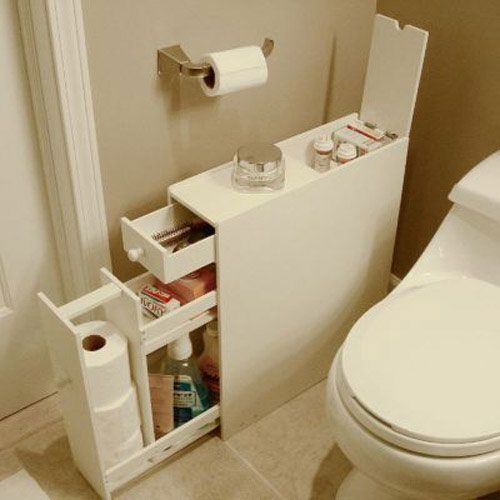 Good idea for a slim area, but I'd make sure the paint was washable that close to the toilet splatter! Ick!