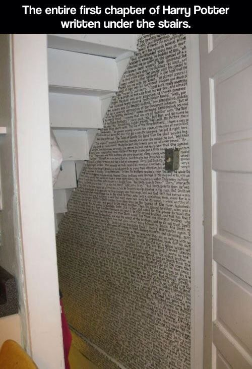 Harry potter written under the stairs