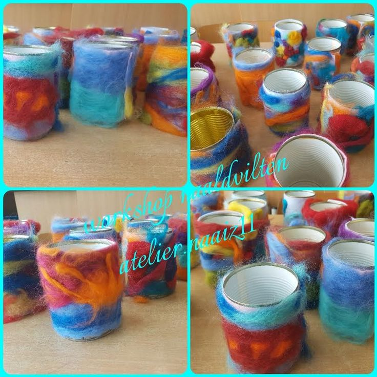 workshop atelier.naaiz11 pennenpotjes naaldvilten. Gemaakt door de leerlingen van groep 6 van de Pastoor van Arsschool.