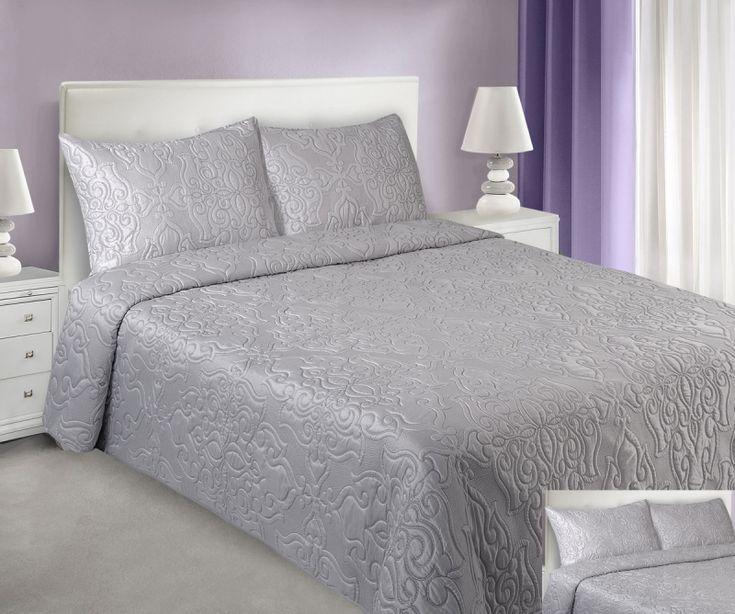 Šedé přehozy na manželskou postel VINTAGE