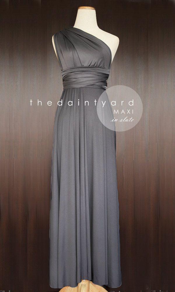 MAXI Slate Bridesmaid Dress Convertible Dress by thedaintyard