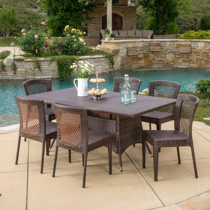 16+ Pepin 7 piece rectangular outdoor dining set with sling chairs Tips