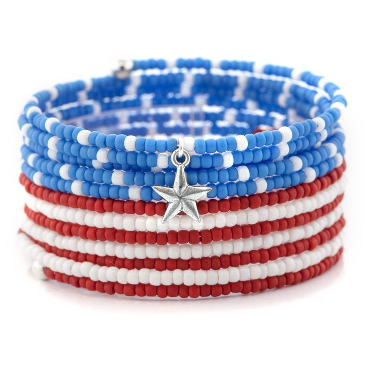 Independence Day Bracelet - Easy to make.  Uses memory wire & 8/0 seed bead. Love it!