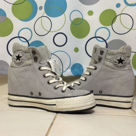 Converse Wedge Sneakers NWT! Gray converse wedge sneakers. NEVER BEEN WORN, still has tag. Converse Shoes