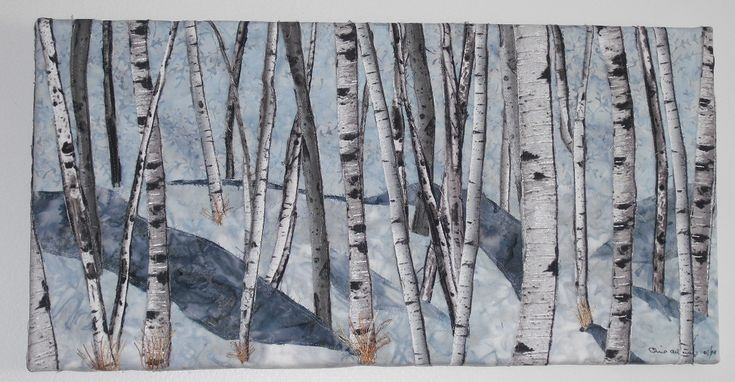 #Birch Trees in Snow 2, Fabric collage, thread painted, mounted on canvas. Sold .  Chris Allaway