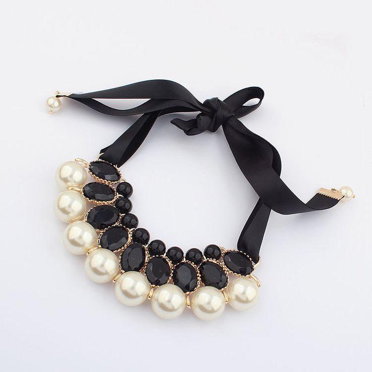 Nowy 2015 Hot Symulowane Pearl Naszyjnik Biżuteria Jedwabiu Chai Statementn Naszyjniki Na Prezent Wesele Zaręczyny