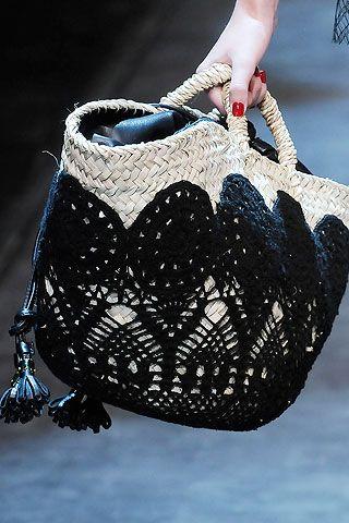 woven bag w black crochet