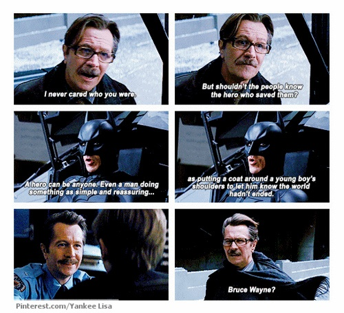 Oh i was just in tears! i knew something was going to happen and i didnt know if Batman was going to live or not. i just found this little tid bit of information so touching, after all this time. I feel like Gordon was one of Bruce's inspirations to become the Batman, That there was good in Gotham still.