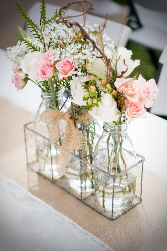 Designs by Kimberly Francom and Associates: Twin Cookies and Milk First Birthday Party (Fresh florals displayed in milk bottles, burlap and lace table runners)
