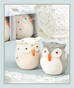 "Cute Owl, Ceramic Salt And Pepper Shakers. Display these cute, ceramic salt and pepper shakers in your kitchen when not in use. They are molded into shape, and painted with silver spots on head and back. Each ceramic salt and pepper shakers is 2″ x 1.5 "". They are packaged in a silver box, with a clear front for easy display. http://theceramicchefknives.com/ceramic-salt-pepper-shakers/"
