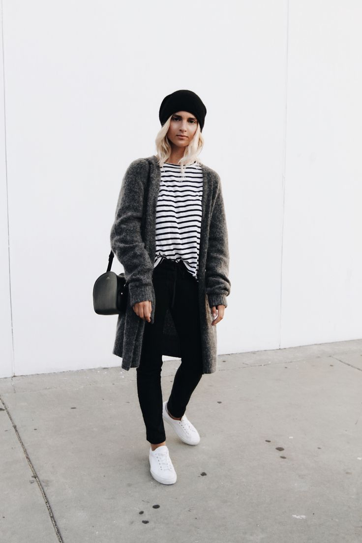 ACNE STUDIOS      raya mohair cardigan (similar here) COMMON PROJECTS      white kicks HARPER & BROOKS       all black watch  NILI LOTAN     black lace-up jeans (similar here)  BASSIKE       striped cotton long sleeve (similar here) A.P.C.      halfmoon bag photography by  F. Flatau  _____   _____ Wrapped up. x