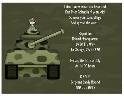 43 best army theme birthday party images on pinterest | birthday, Birthday invitations
