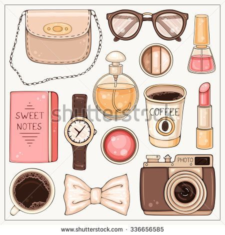 Vector hand drawn fashion set of woman's accessories and cosmetics. Hipster illustration with bag, make up tools, coffee, glasses, hand watch and photo camera: