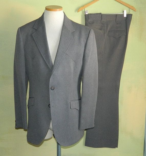 40 70s Western Suit Roper Circle S Made in the U.S.A. Gray
