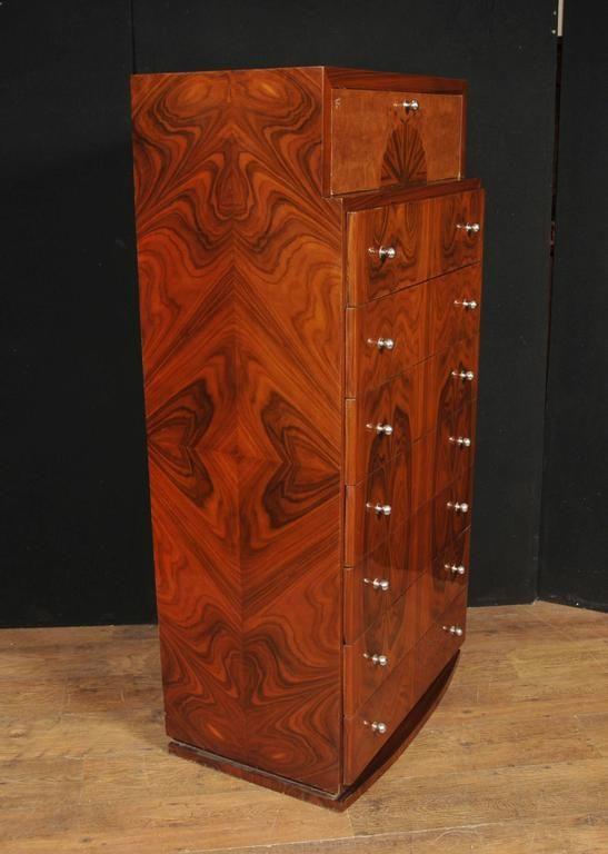 Art deco style walnut chest drawers cabinet tall boy furniture