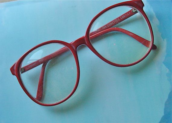 Lunettes Cartier Galaxy Oversized Glasses Frames 1980s  Horn Rims Sally Jessy Raphael Red