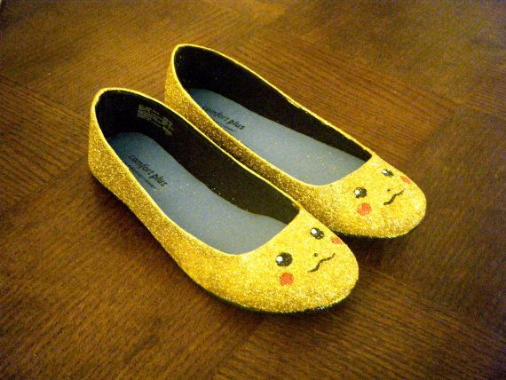 Pikachu shoes - ballet flats are covered in glitter and several layers