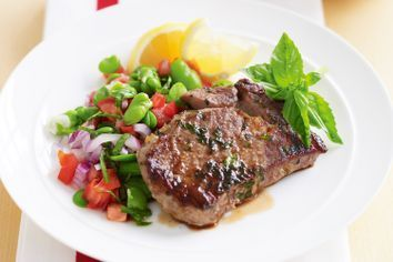 Veal with warm broad bean salad