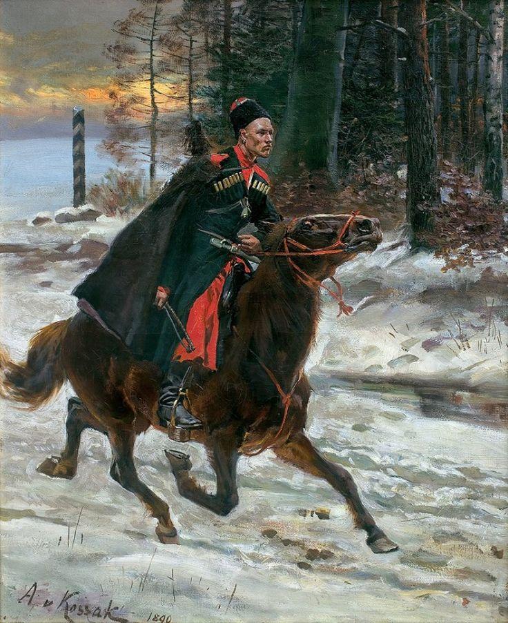 Wojciech Kossak, Z ROZKAZEM NA GRANICY, 1890 Olej na płótnie, 55.5 x 45.7