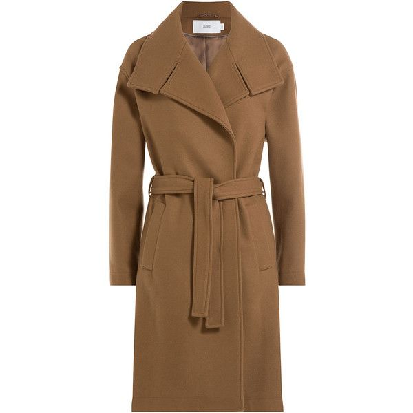Closed Wool Blend Trench Coat (3 000 SEK) ❤ liked on Polyvore featuring outerwear, coats, brown, brown trench coat, wool blend coat, trench coat, brown coat and wool blend trench coat