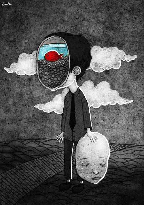 illustration art - an evocatively sad illustration in black and white with an undertone of melancholy with themes of personal identity and mental health, hiding how you feel. A character has taken off their face to reveal a contrasting goldfish in blue water against the bleak surroundings.