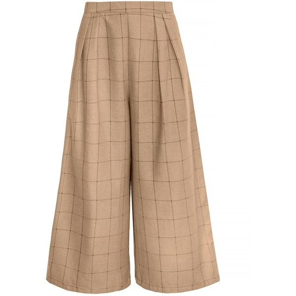 Brown Plaid Check Crop Culottes found on Polyvore featuring pants, capris, brown crop pants, plaid pants, tartan pants, wide-leg trousers and cropped capri pants
