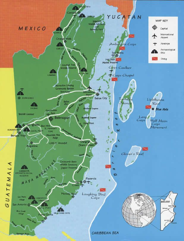 Belize Mayan Ruins Map