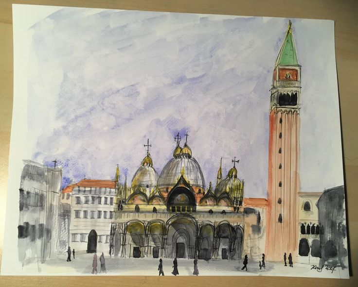 Venice St Marks Square watercolour with pen and ink, original, signed by KnottyThistle on Etsy