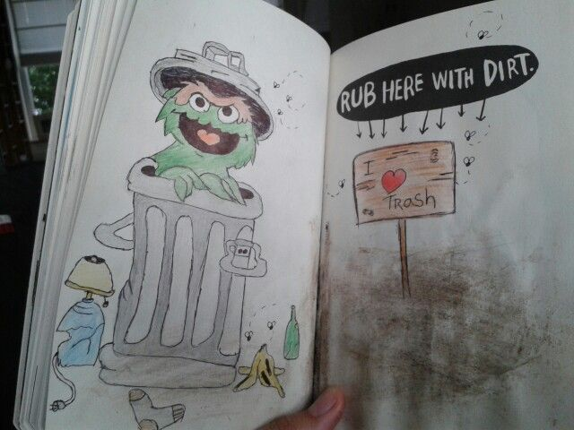 Wreck it journal ~ Rub here with dirt. Oscar!