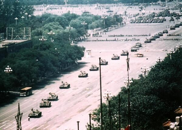 Uncropped version of Jeff Widener's famous photo of Tank Man on Tiananmen Square, Beijing, 1989