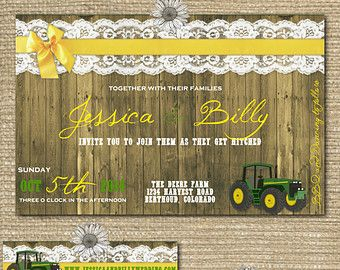 "Custom John Deere Wedding Invitations | The ""John Deere"" Collecti on Set - Printable Wedding Invitation ..."