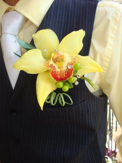Wedding or Prom Boutonnière- Yellow Orchid <3