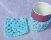crochet Mug cosy and coaster set for Loved one, granny square theme, hot drink set tea lover