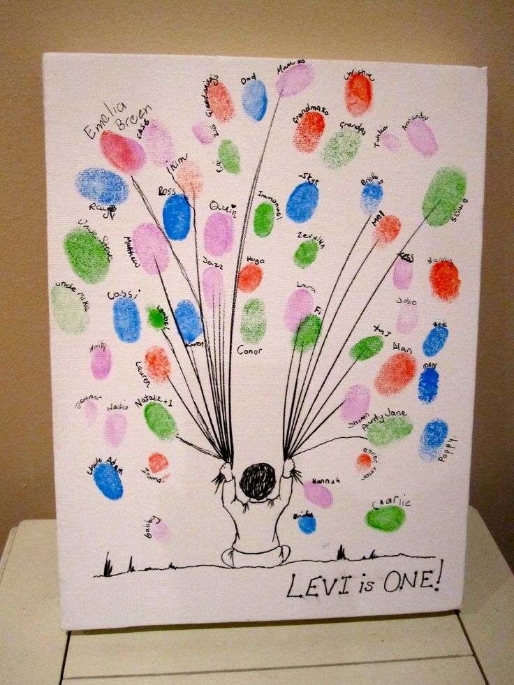1st Birthday Thumbprint Guestbook- do this witha tree make thumb prints into owls?