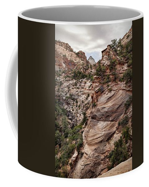 Coffee Mug featuring the photograph Sandstone Cliffs by Evgeniya Lystsova. Layers upon layers of red rock peaks, Zion National Park, Utah. Stylish Mug for your Home and Office Decor! Coffee time, Kitchen, Gift, art products. Our ceramic coffee mugs are available in two sizes: 11 oz. and 15 oz. Each mug is dishwasher and microwave safe. SHIPS WITHIN 1 -2 business days.
