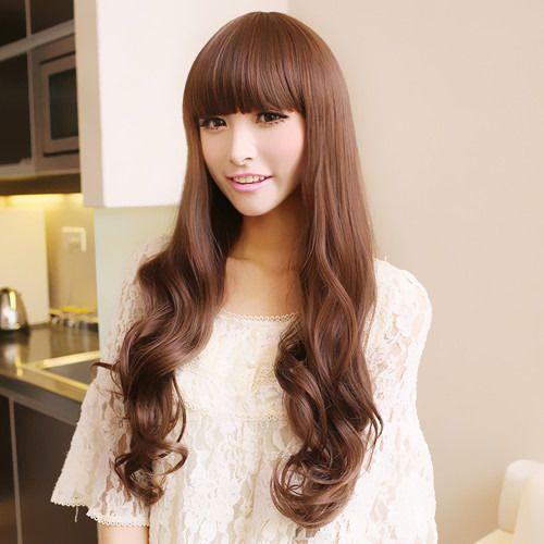 Экспресс-доставка мода женщин длинные волнистые волосы полный парик косплей ну вечеринку коричневый s0888 теплоизоляционный слой cospay парики