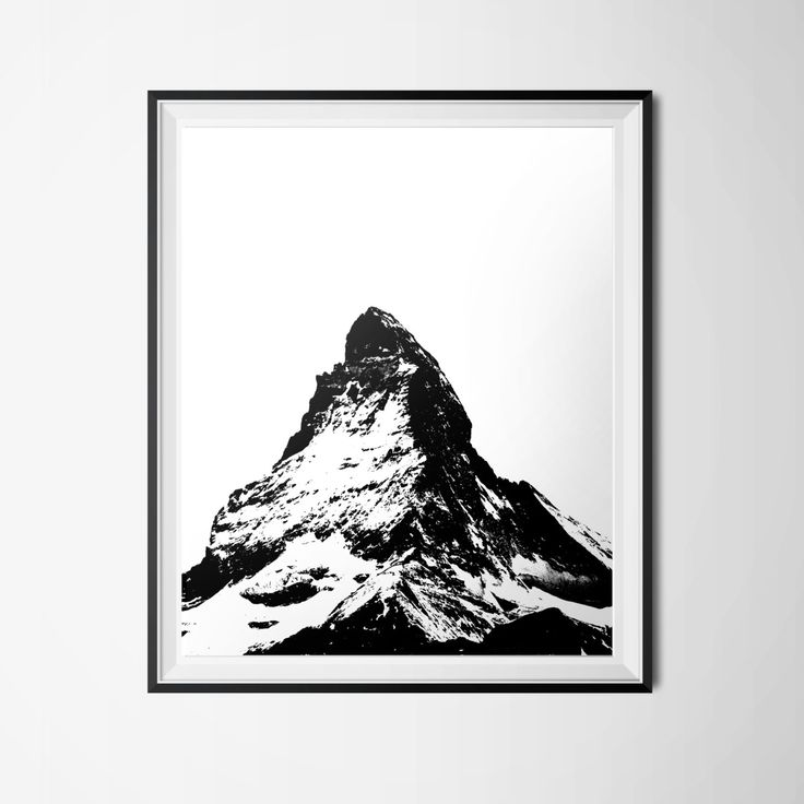 Mountain Print, 16 x 20 Matterhorn Poster, Swiss Alps Print, Instant Download, Black and White Decor, Mountain Peak, Nature Print, Travel by OlaHolaHola on Etsy