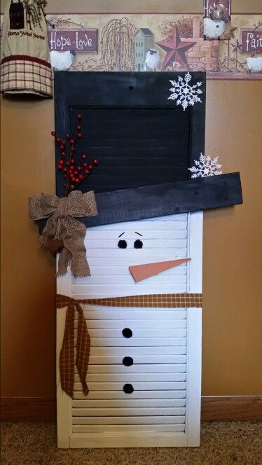 Snowman I Made From A Shutter He S Ready To Meet Our