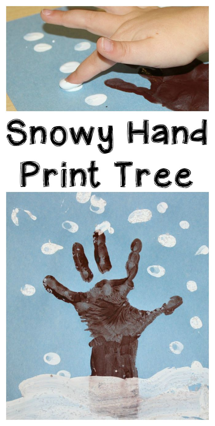 Make a winter hand print tree with the kids