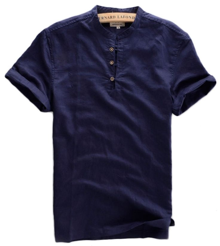 Qiuse Men's Pullover Shirt with Three-quarter Sleeve XX-Small Dark Blue