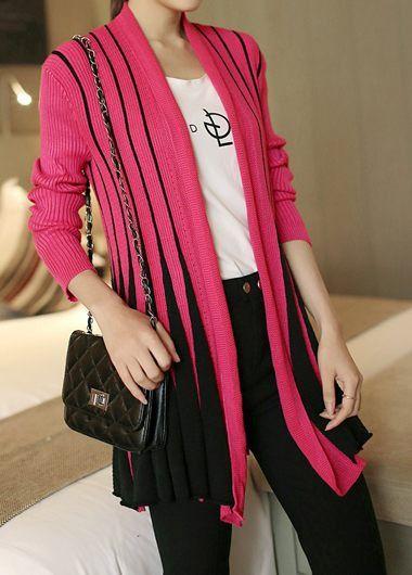 22ab9563ea1 Long Sleeve Vertical Striped Rose Pink Cardigan