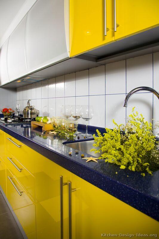 Modern Yellow Kitchen Cabinets #04 (Kitchen-Design-Ideas.org)
